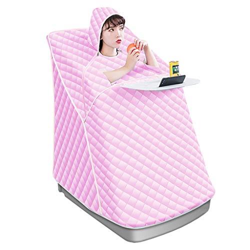 W-Master draagbare stoomsauna Spa 2L persoonlijke fysiotherapie-saunaruimte ter vermindering van ontgifting en ontspanning thuis, enkele saunaruimte met afstandsbediening, klapstoel, roze