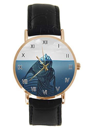 Fishbone im Meer Armbanduhr Fashion Klassisch Unisex Analog Quarz Edelstahl Gehäuse Lederarmband Uhren