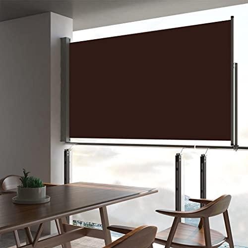 LUYIPINGQIWND Color: Lona marrón + Soporte Gris Toldo Lateral retráctil para Patio marrón 140x300 cm