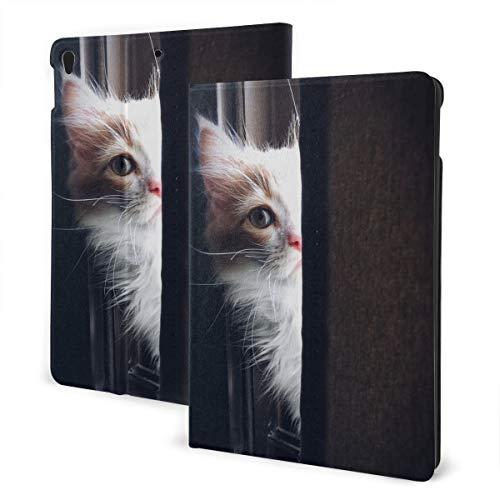 Een kat met een half gezicht op de vensterbank IPad lederen tas, zachte rubberen achterkant, verstelbare standaard, automatische wake/slaap Smart Case, geschikt voor Ipad Air3 10.5