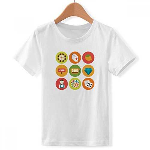 DIYthinker jongens Casino cartoon-elementen illustratie Crew Hals wit T-shirt