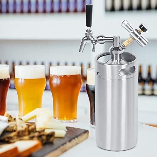 【Venta del día de la madre】con manómetro que mantiene la carbonatación Dispensador de cerveza de grifo ajustable, barril de cerveza, plata de 3,6 l para fermentación doméstica y de bar, almace