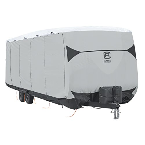 Classic Accessories Over Drive SkyShield Deluxe Travel Trailer Cover, Fits 15' - 18' Trailers - Water Repellent RV Cover (80-382-103001-EX)