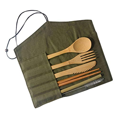 jieGorge Portable Bamboo Cutlery Travel Eco-friendly Fork Spoon Set, Kitchen,Dining & Bar for Easter Day (AGreen)