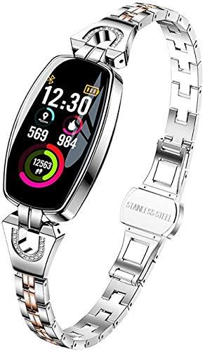 Pulsera inteligente para mujer, pantalla a color, medición de frecuencia cardíaca, medidor de presión arterial, paso fitness, multimovimiento, IP67, resistente al agua, color plateado