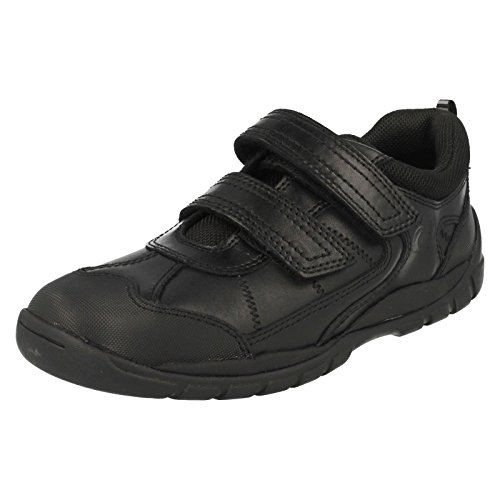 Start-rite Oliver en Cuir Noir Garçons Chaussures Velcro - Noir - Noir, 34.5