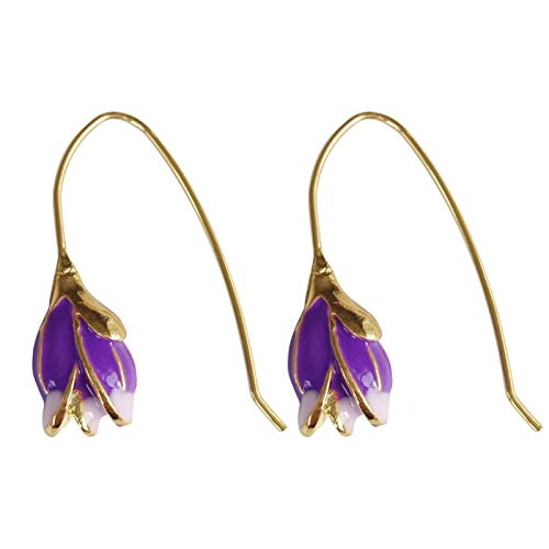 AchidistviQ Three dimensional Flower Drop Earrings for Women and Girls,Hypoallergenic Floral Ear Pendant Hook Earrings for Valentine Birthday Gifts Purple