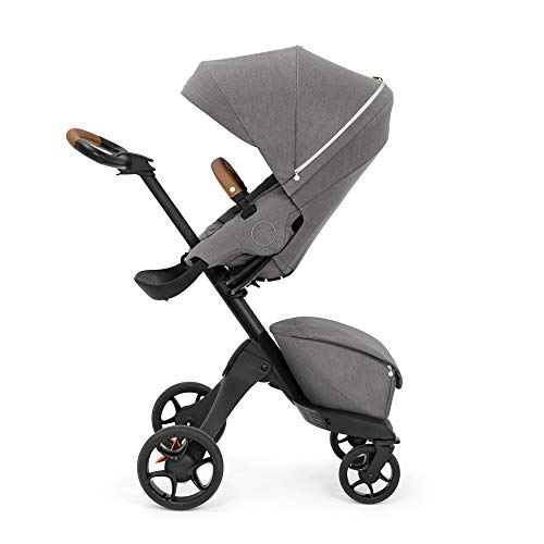 Stokke Xplory X, Modern Grey - Luxury Stroller - Adjustable for Both Baby & Parents' Comfort - Padding, Harness & Reflective Zipper for Added Safety - Folds in One Step