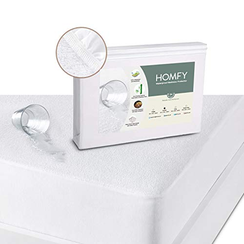 HOMFY Waterproof Mattress Protector, Double Size Mattress Topper Cover Fitted Sheet for Junior or Cot Bed, Terry Towelling and Breathable, Anti-Allergy