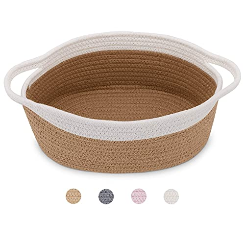"""ABenkle Small Baskets,12""""x 8"""" x 5"""" Shelf Storage Basket, Tiny Cute Rope Basket Room Storage Chest Oval Box, Cat Basket, Empty Gift Basket with Handles (Brown)"""