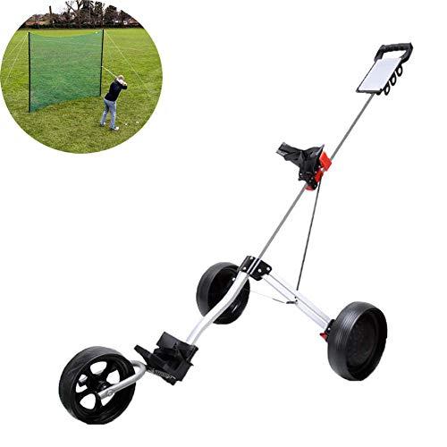 Carrelli da Golf con Tre Ruote, Golf Cart Pieghevole per i Golfisti Junior, Carrelli da Golf con Maniglia Push-Pull e Freno A Pedale, Apertura e Chiusura Facile