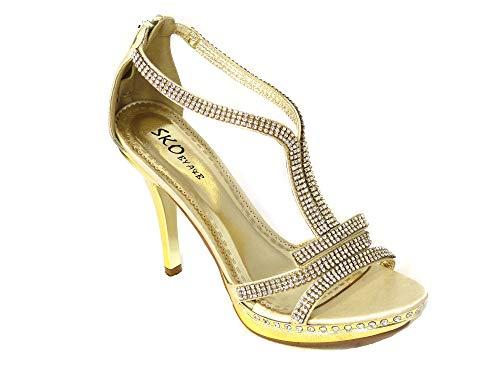 Sandalias de tacón alto para mujer con diamantes para baile de graduación,...