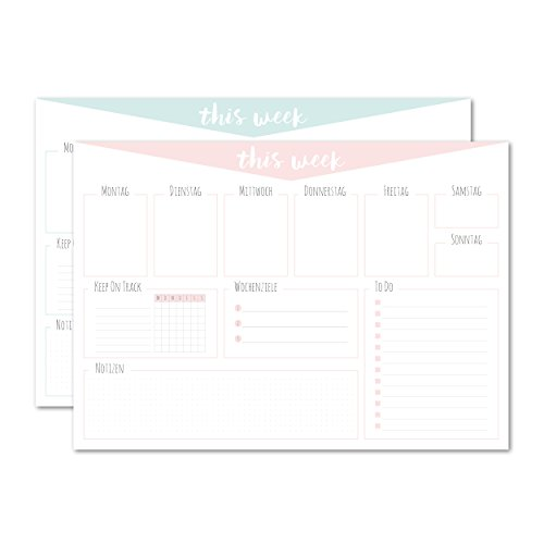 Schreibtischunterlage/aus Papier zum Abreißen/pastellfarben/rosa/weiß/DIN A3 (42x29,7cm) / Organizer/Wochenplan/ToDo Liste/Notizen/Wochenziel/Schreibtischunterlage für Kinder und Erwachsene