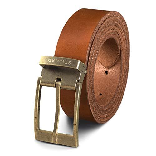 STILORD Cinturón de Cuero Vintage Hombres Mujeres Universal Acortable Piel Genuina de Búfalo, Color:veneto - marrón | Hebilla bronceada -...