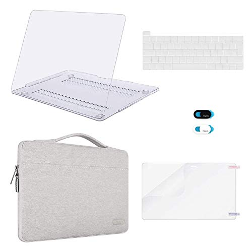 MOSISO MacBook Pro 16 inch Case 2020 2019 Release A2141, Plastic Hard Shell Case&Sleeve Bag&Keyboard Cover&Webcam Cover &Screen Protector Compatible with MacBook Pro 16 inch with Touch Bar, Clear&Gray