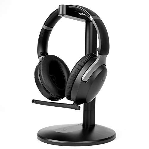 Avantree Aria Podio aptX-HD Bluetooth 5.0 Cuffia con cancellazione del rumore attivo, wireless con microfono boom per chiamate telefoniche e conferenze PC, bassa latenza per TV, Stand & Ricarica