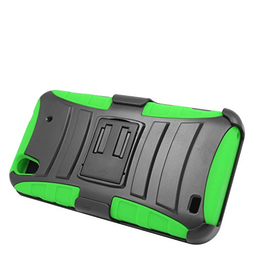 Eagle Cell Hybrid Protective Skin Case Cover with Stand and Belt Clip Holster for ZTE Quartz Z797C - Retail Packaging - Green/Black