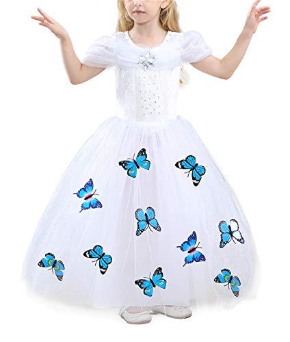 YOSICIL Vestido de Princesa Elsa Bella Niñas Disfraz Princesa Frozen Azul Rosa Vestidos de Fiesta de Tul Tutu y Accesorios Mariposa Fancy Dress Traje de Cumpleaños Boda 3-10 años 100-150cm