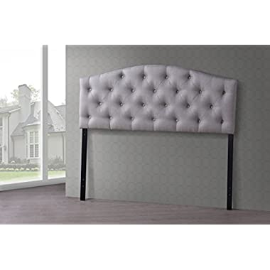 Wholesale Interiors Baxton Studio Myra Modern and Contemporary Fabric Upholstered Button-Tufted Scalloped Headboard, Queen, Light Beige