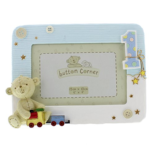 Button Corner WBM-GFT05 Süßer Fotorahmen Teddybär zum 1. Geburtstag - blau, transparent, 200 g