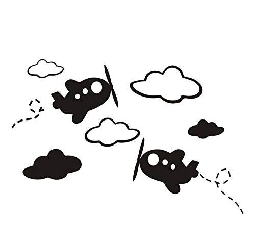 sufengshop Witte wolken vliegtuig muursticker voor kinderkamer kunst achtergrond muursticker besturing decor woonkamer muursticker