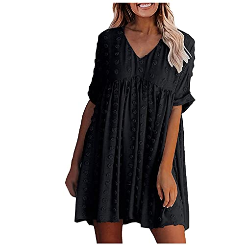 BAInuai Sommer Kleidung für Damen,V Ausschnitt Einfarbig Dots Minikleider Kurzarm Lockeres Freizeitkleid Strandkleid Plisseekleid