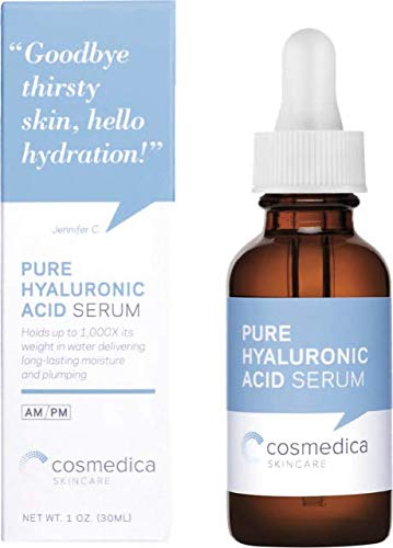 Best-Selling Hyaluronic Acid Serum for Skin-- 100% Pure-Highest Quality, Anti-Aging Serum-- Intense Hydration + Moisture, Non-greasy, Paraben-free-Best Hyaluronic Acid for Your Face (Pro Formula) 1 oz by Cosmedica Skincare