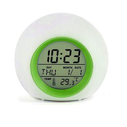 Nicoone Reloj despertador digital, LED con sonidos naturales, 7 colores cambiantes, pantalla de retroiluminación digital, color verde