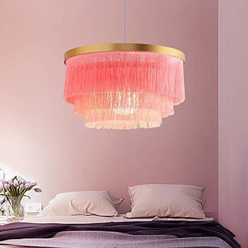 XLTT Rosa Borla Araña Nordic Lámpara Colgante Lámpara De Techo Sala De Estar Dormitorio Niña Princesa Habitación 42 * 42 * 23 Cm Tela Decoración Cálida Personalidad De Lujo
