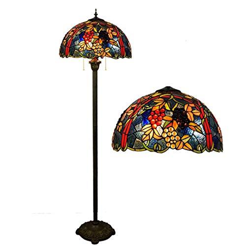 BDHBB Lampadaire Moderne, lampadaire européen de Campagne rétro en Verre, lampadaire de Style Tiffany de 17 Pouces, Lampe de Chevet, Lampes de Plancher de Tiffany pour Le Salon