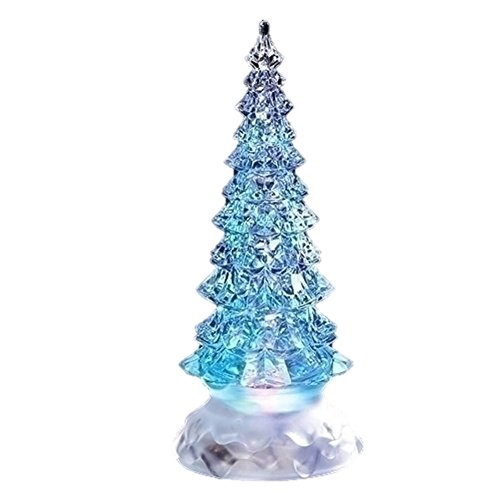 Holiday Pine Tree Multicolored Light Up Glitter Confetti Swirl 8.5 Inch Acrylic Tabletop Figurine