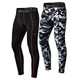 ZENGVEE 2 Piezas Leggings Hombre Pantalón de Compresión Secado Rápido Pantalón Mallas Largo Hombre Deporte para Running Fitness(1818) Black Camo Black-XL