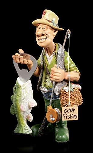 Angler Figur mit Fisch als Flaschenöffner | Fischer Dekofigur, handbemalt