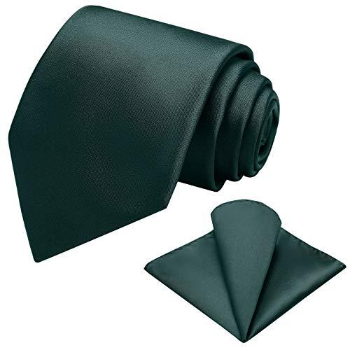 Vinlari Corbata Hombre Pañuelo Corbata Boda Conjunto Seda Pañuelo Negocio Elegante Estilo Casual Corbata Verde