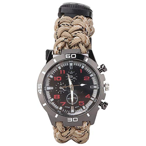 Zer one Outdoor Survival Watch, Multifunktions Kompass Universalarmband mit Paracord Rettungsset für Camping Überlebensseile