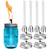 Mason Jar Tabletop Torch Kits,4 Pack Longlife Fiberglass Wicks,Stainless Steel Mason Jar Lids Caps Included,Outdoor Deck Oil Lamp Torch