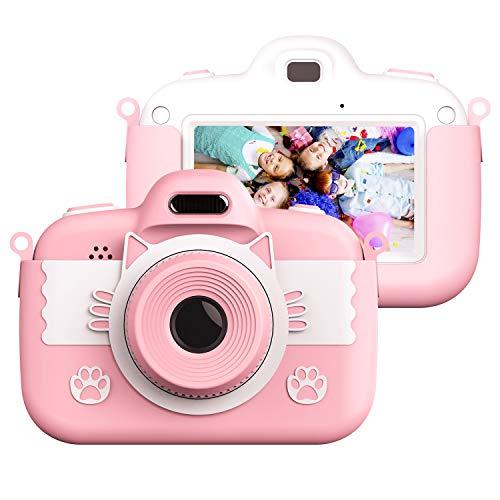 Vannico Appareil Photo numérique pour Enfants avec écran Tactile, Rechargeable, avec dragonne, Carte SD 16 Go, Cadeau d'anniversaire pour Filles et garçons (Rose)