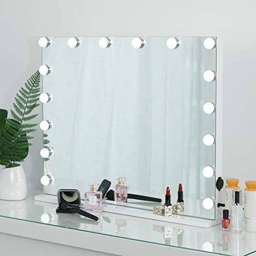iCREAT Hollywood Spiegel mit 16 Glühbirnen 70X55 cm Edition groß Schminkspiegel mit Beleuchtung Theaterspiegel Tischspiegel mit LED Licht beleuchtet Kosmetikspiegel mit einstellbar Licht