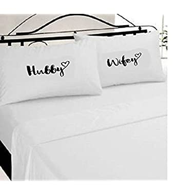 Hubby Wifey Mr Mrs pillow Cases Set Of 2 Queen Size Bright White HandMade