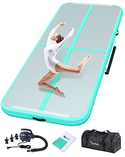 Sportneer Inflatable Air Gymnastics Training Mat, 9FT Tumble Track Air Mat for Kids, Indoor Outdoor Exercise Fitness Home Gymnastic/Tumble/Cheerleading/Yoga/Beach/Water with Electric Air Pump