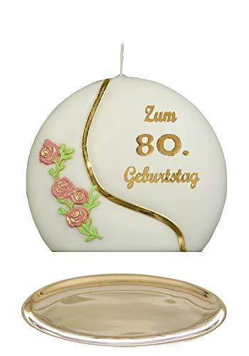 Auswahl * Jubiläumskerze/Geburtstagskerze ''Zum 80. Geburtstag'' * Terracotta * mit farbigen Wachsauflagen * inkl. Kerzenständer aus Messing * ('Diskus 001') Auswahl Motiv + Farbe