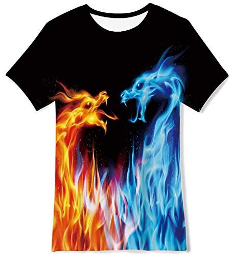AIDEAONE Jungen Mädchen T-Shirts Rundhals Drachen Kurzarm T-Shirt 9-12 Jahre