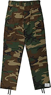 Mens Woodland Camo Cargo Military BDU Pants with Pin (W 35-39 - I 29.5-32.5) L