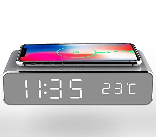 Base de carga inalámbrica con pantalla digital LED, hora y temperatura, reloj despertador, altavoz Bluetooth y función de radio FM, se puede utilizar para Android e iOS