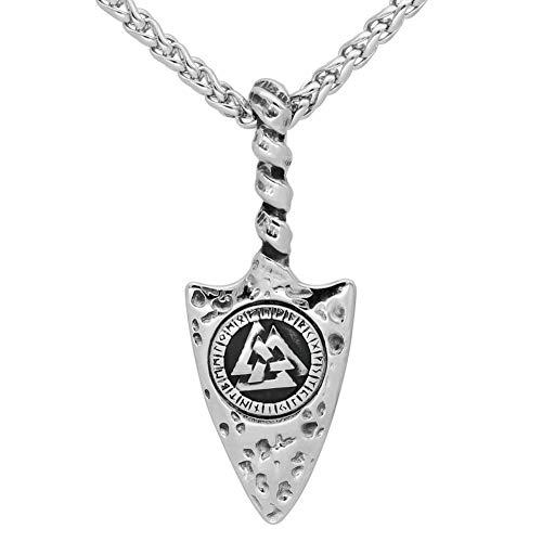 GuoShuang Nórdico Vikingo Odin Gungnir Amuleto Acero Inoxidable Valknut Runa Colgante Collar para Hombre