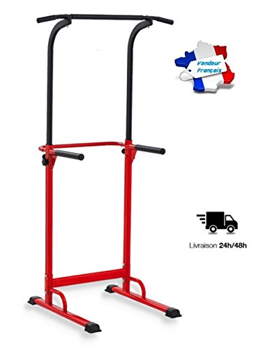 Pull up Fitness – Klimmzugstange, verstellbar, Krafttraining, multifunktional, Unisex, rot/schwarz, one Size