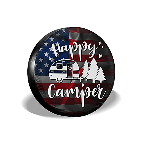 LORBUK Tire Cover Happy Camper USA Flag Waterproof Dust-Proof Universal Spare Wheel Tire Cover Fit...