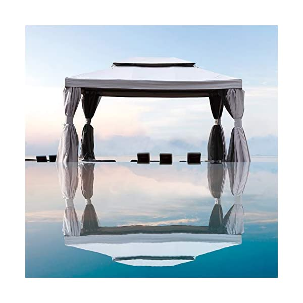 Grand patio 10×13 Feet Patio Gazebo, Outdoor Canopy with Mosquito Netting and Shade Curtains,Sturdy Straight Leg Tent…