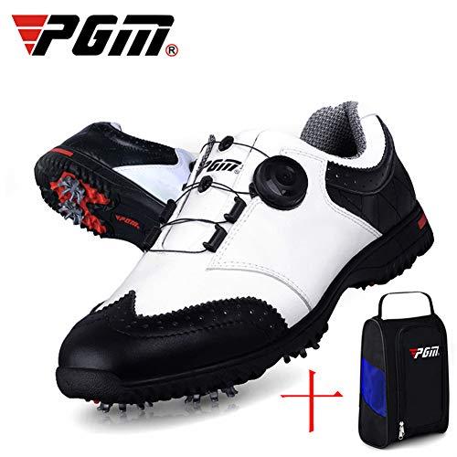 AUZZO HOME Zapatos para Hombre Zapatos de Golf con Bolsa Antideslizante Impermeable Ligero Zapatillas con Sistema Boa Encaje, 3 Desmontables Zapatos Antideslizantes Spikes y la Herramienta de,41