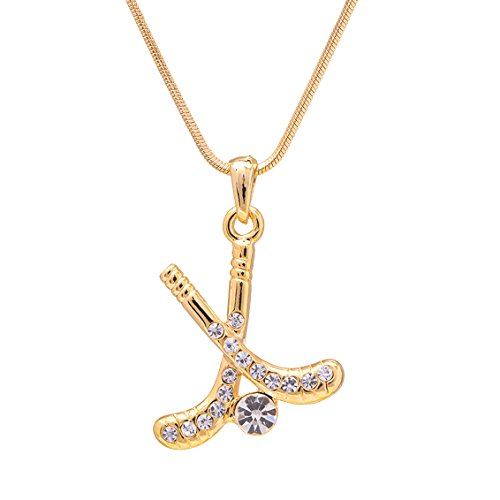 SpinningDaisy Gold Plated Crystal Field Hockey Stick with Ball Necklace